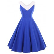 GownTown Womens 1950s Vintage Dress V-Neck Dresses Swing Stretchy Dresses - Dresses - $29.99