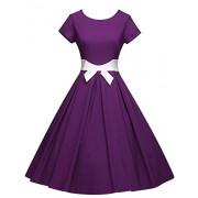 GownTown Women's 1950s Vintage Dresses Audrey Hepburn Style Bowknot Party Dresses - Dresses - $35.98