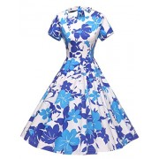 GownTown Womens 1950s Vintage Retro Party Swing Dress Rockabillty Stretchy Dress - Dresses - $29.99