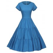 GownTown Women's 50s O-Neck Vintage Cocktail Party Swing Dress - Dresses - $35.98