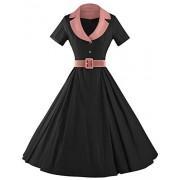 GownTown Women's Audrey Hepburn Style Short Sleeve Belt Waist Cocktail Dress - Dresses - $34.98