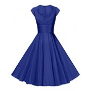 GownTown Womens Dresses Party Dresses 1950s Vintage Dresses Swing Stretchy Dresses, Royal Blue, X-Small - Dresses - $19.99