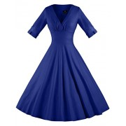 GownTown Womens Dresses V-Neck 3/4 Sleeves 1950s Vintage Dresses Swing Stretchy Dresses - Dresses - $12.98
