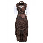 Grebrafan Steampunk Corset Dress 3 Piece Outfits Bustiers with Skirt and Blouse - Underwear - $6.89