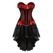 Grebrafan Steampunk Corset Skirt with Zipper,Multi Layered High Low Outfits - Underwear - $6.99