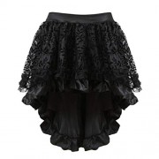 Grebrafan Steampunk Midi Skirt for Women Tulle Multi Layered High Low Outfits Party - Skirts - $5.89