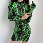 Green Lightning Half High Collar Tight G - Obleke - $25.99  ~ 22.32€