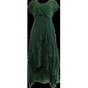 Green Short-Sleeved Layered Dress - Haljine -