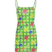 Green plaid floral dress - Dresses - $17.99