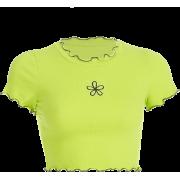 Green wavy side flower embroidery short - Košulje - kratke - $17.99  ~ 114,28kn