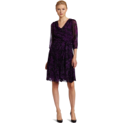 HALSTON HERITAGE Women's Cowl Pleated Feather Print Dress Purple - Dresses - $155.33