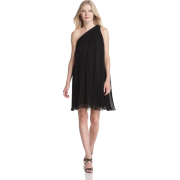 HALSTON HERITAGE Women's One Shoulder Short Pleated Dress Black - Dresses - $138.31
