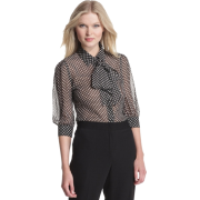 HALSTON HERITAGE Women's Removable Tie Blouse Black/ivory - Long sleeves shirts - $156.60