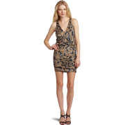 HALSTON HERITAGE Women's Side Tie Halter Dress Jewel Print - Dresses - $141.10