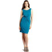HALSTON HERITAGE Women's Sleeveless Front Gathered Dress Mosaic Blue - Dresses - $174.20
