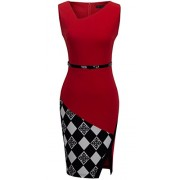 HOMEYEE Women's Elegant Patchwork Sheath Sleeveless Business Dress B290 - Haljine - $21.99  ~ 139,69kn