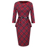 HOMEYEE Women's Vintage Tartan Wear to Work Bodycon Dress B267 - Haljine - $26.99  ~ 171,46kn