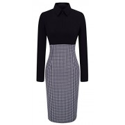 HOMEYEE Women's Voguish Houndstooth Long Sleeve Career Pencil Dress B31 - Haljine - $22.99  ~ 146,05kn