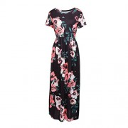 HOOYON Women's Casual Floral Printed Long Maxi Dress with Pockets(S-5XL),Black Short,Small - Dresses - $18.99