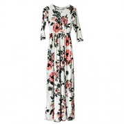 HOOYON Women's Casual Floral Printed Long Maxi Dress with Pockets(S-5XL) - Dresses - $12.99