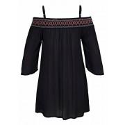 HOTAPEI Women's Off Shoulder Embroidered Neckline Boho Beach Cover up Dress - Dresses - $42.99