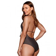 HOT FROM HOLLYWOOD Women's Corset Tie Front Halter One Piece Open Back Swimsuit - Купальные костюмы - $36.99  ~ 31.77€