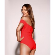 HOT FROM HOLLYWOOD Women's Vintage Slim One Piece Scrunch Off Shoulder Swimsuit - Купальные костюмы - $36.99  ~ 31.77€