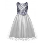 HOTOUCH Girls Flower Sequin Sleeveless Princess Tutu Tulle Occasion Birthday Party Dress - Dresses - $2.99