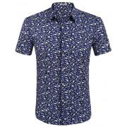 HOTOUCH Men's All Over Floral Prints Shirts Slim Fit Short Sleeve Hawaiian Shirt Black Purple XXL - Shirts - $16.99