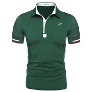 HOTOUCH Men's Fashion Slim Fit Short Sleeve Polo T-Shirts Green XL - Shirts - $18.99