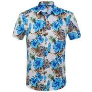HOTOUCH Men's Flower Print Hawaiian Button Up Shirt Tropical Aloha Shirts White Blue XXL - Shirts - $20.99