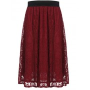 Halife Women Vintage Elegant High Waisted Floral Lace Pleated Midi Skirt - Skirts - $15.99