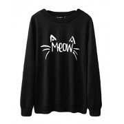 Halife Women's Cute Cat Face and Meow Letter Print Lightweight Sweatshirt - Shirts - $29.99