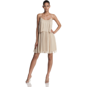 Halston Heritage Women's Pleated Chiffon Tiered Cocktail Dress Sand - Dresses - $435.00