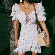 Heavy industry full lace cutout puff sle - Vestidos - $32.99  ~ 28.33€