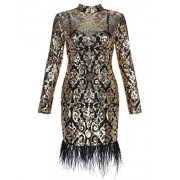 Hego Women's Feather Gold Sequined Mesh Long Sleeve Bandage Club Wear Dress for Special Occasion - Haljine - $139.00  ~ 119.39€