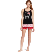 Hello Kitty Women's Hk Nordic Comfort 2 Piece Pajama Short Set Tank Printed Top Black - Top - $18.90