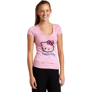 Hello Kitty Women's Pink Beauty Burn Out T-Shirt Pink - T-shirts - $12.60