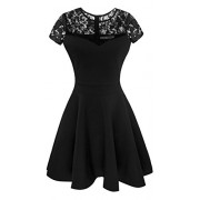Heloise Fashion Women's A-Line Pleated Short Sleeve Little Cocktail Party Dress With Floral Lace - Dresses - $29.99