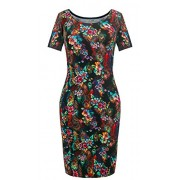 Heloise Fashion Women's Short Sleeve Scoop Neckline Slim Fit Floral Summer Dress - Dresses - $29.99