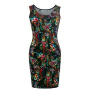 Heloise Fashion Women's Sleeveless Scoop Neckline Slim Fit Peacock Floral Summer Dress - Dresses - $29.99