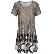 Hibelle Swing Dress, Women's Modest Fit and Flare Feminine Classic Style Shift Tunic Dress Business Casual Light Brown XXL - Dresses - $55.99