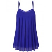 Hibelle Womens Casual Chiffon Spaghtti Straps Pleated Front Flowy Cami Tank Tops - Shirts - $50.99