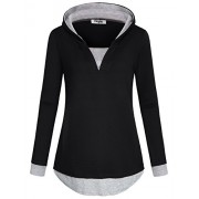 Hibelle Women's Casual Color Block 2 in 1 Long Sleeve Pullover Hoodies - Shirts - $46.99