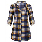 Hibelle Womens Casual Long Sleeve Tartan Blouse Button Down Fashion Plaid Shirt - Shirts - $45.99
