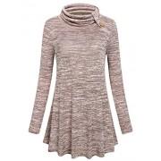 Hibelle Women's Cowl Neck Long Sleeve Flowy Tunic Tops - Shirts - $45.99