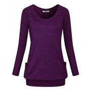 Hibelle Women's Crew Neck Long Sleeve Casual Side Pocket Banded Hem Tunic Tops - Shirts - $35.99