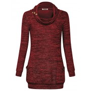 Hibelle Womens Long Sleeve Button Cowl Neck Casual Tunic Tops With Pockets - Shirts - $49.99