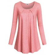 Hibelle Womens Long Sleeve Crew Neck Round Bottom Pullover Basic Tunic Tops - Shirts - $35.99