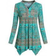 Hibelle Women's Notch Neck Long Sleeve Floral Printed Pleated Peplum Tunic Tops - Shirts - $50.99